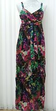 NEXT Multi FLORAL Special Occasion MAXI PLEATED DRESS Strappy 6 8 PETITE 36 BNWT
