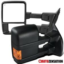 For 1999-2015 Ford F250 Super Duty Black Power Heated Tow Mirrors+Amber Signal