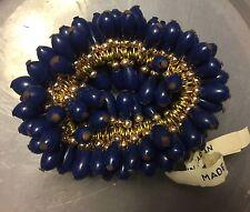 Vintage Japan Navy Blue Pear Tear Drop Shape Glass Bead Drops 1 Gross Hank Lot