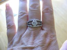 18k White Gold Triple Band Baguette Round Diamond Flower Anniversary Ring Size 9