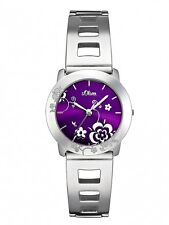 s.Oliver Damenuhr Uhr Edelstahl Lila Analog Blumen Armbanduhr SO-1662-MQ