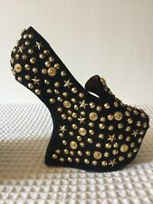 JEFFERY CAMPBELL HEELLESS STUDDED SUEDE UNIQUE STUNNING ON SZ 37 Eu 4 UK