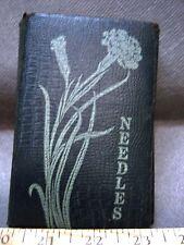 ART NOUVEAU LEATHER QUAD-FOLD NEEDLE CASE BOOK FREE SHIPPING