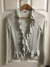 Rebecca Taylor Sz M Ruffle Front/Hem Long Sleeve Cardigan Sweater Wool *SOFT*