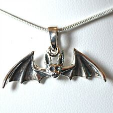 Flying Bat 925 Silver Pendant Free SP Chain Cute Wicca Witch Goth Jewellery