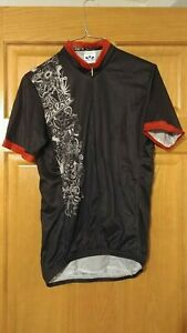 Voler Salsa Cycles Collage SMALL Mens Cycling Jersey 3/4 Zip Black/Red