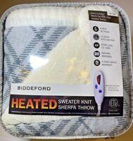 "Biddeford Heated Sweater Knit Sherpa Throw Blanket + Controller ~ NEW 50"" x 62"""