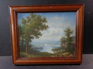 Vintage Framed Oil Painting on Canvas  Lake Landscape Small Signed A Paul