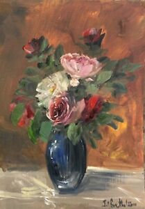 A4 Print of Original oil painting floral art flowers pink rose vintage style