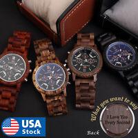 Custom name Wood Watch Wooden Quartz Date Display Men's Wristwatch gift for men