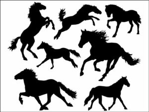 Horse Pony Horses Silhouette Background Edible Cake Topper Wafer or Icing