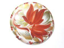 Gold Tone Coloring Vintage Leaves Flower Large Round Porcelain Pin Red Orange