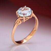 Rotgold RING mit Topas 8.0 mm Russisches Rose Gold 585 Neu Glänzend