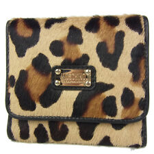 Auth MOSCHINO Leopard Unborn Calf Leather Trifold Wallet Purse F/S 800