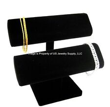 """Black Oval Double T Bar Display for Bracelets, Watches Chains  7 1/2""""W x 7""""H"""