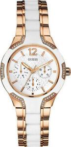 Guess Women's Watch Ladies Stainless Steel Bracelet W0556L3 White/RoseGold