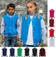 Kids Children Boys Girls Contrast Varsity College Baseball American Style Jacket