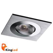 Luminaire encastré carré Chrome satiné LED 3W Spot 1x3W Blanc Froid +Conducteur