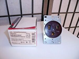 Eaton/Cooper Wiring 1253-BOX Flush Receptacle, 50A 125V, Brown