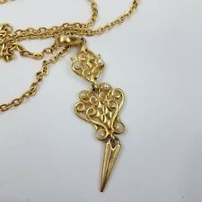 Gold Tone Boho Necklace Long Chain Faux Pearl Filigree Drop Statement Spike