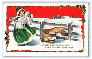 Christmas Presents Girl Cammack South Dakota 1916 Vintage Antique Postcard