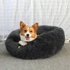 Dog Bed Round Washable Long Plush Dog Cushion House Cat Bed