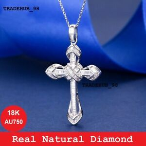 0.50ct Unique Princess Real Diamond Cross Pendent Necklace 18K White Gold Au750