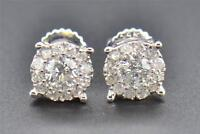 Diamond Stud Earrings Mens Ladies 14K White Gold Round Cut 6MM Solitaire .53 Ct