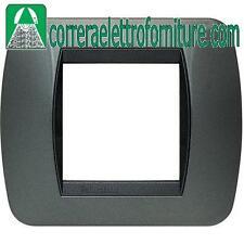 BTICINO LIVING placca 2 moduli posti acciaio scuro L4802AC