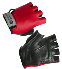 Childs Stretch Leather Bike Glove Fingerless Gloves