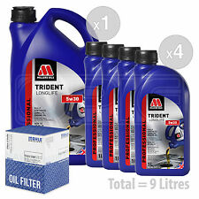 Engine Oil and Filter Service Kit 9 LITRES Millers Oils TRIDENT Longlife  9L