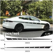 2x Black Racing Stripe Vinyl Side Decal Graphics Car Body Kit Sticker 300x14cm