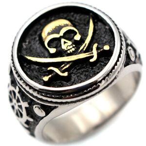 Pirate Flag Cross Skull Ring Men's Stainless Steel Rudder Voyage Helm Ring Biker