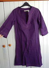 BNWOT Purple Embroidered & Embellished 3/4 Sleeve Indian Tunic size 8 La Redoute