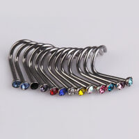 20pcs Colorful Rhinestone Nose Studs Jewelry Screw Ring Bone Bar Body Piercing
