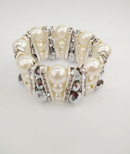 Stylish Creme Color Pearl Crystal Silver Gray Beads Stretch Bracelet Birdal Prom