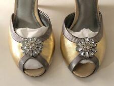 UNIQUE Ann Taylor Loft Heels Classy Gold Silver Jewels Leather Rhinestone Size 7