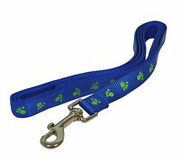 New 6' Long Paw Printed Blue Nylon Dog Pet Leash Lead