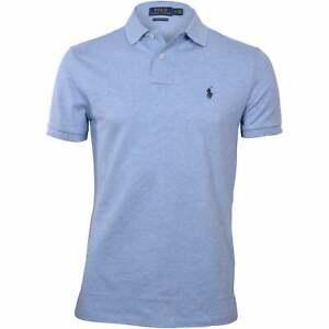 Men's Polo Ralph Lauren Custom Slim-Fit Mesh Polo Shirt, Jamaica Heather Blue