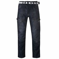 No Fear Mens Belted Cargo Jeans Straight Pants Trousers Bottoms Zip Print