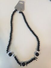 Rainbow Black Glass and Shell Bead Necklace 11 Inches and Earrings Set
