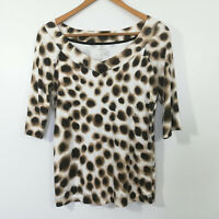 MARC CAIN Object Of Love Size N4 Animal Print Shirt Top Stretch