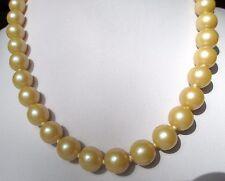 collier bijou ancien grosses perles de verre nacrées rosé attache crochet 164