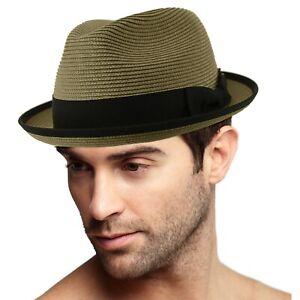 Men's Classy Travel Crushable 2tone Derby Fedora Upturn Curl Brim Hat Gray S/M