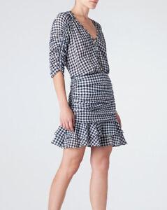 VERONICA BEARD Campbell Navy Gingham Dress 8