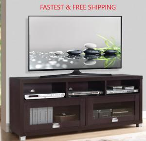 75 INCH TV Stand Center Console Cabinet Flat Screen Home Media Cabinets Espresso