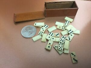 Antique Miniature Bone Dominoes in Wooden Box Suitable French Fashion or Bebe