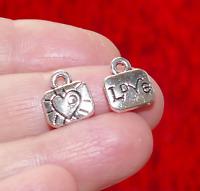 10x Heart Pendant Love Bag Charms for Bracelet Necklace Supplies Silver tone