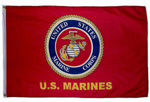 3x5 US USMC Official Logo Marine Marines Corps Flag 3'x5' Banner Grommets