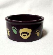 "Dog Bowl Food Dish Purple Ceramic Bear Pawprint Design Small 4"" Dia x 2""H"